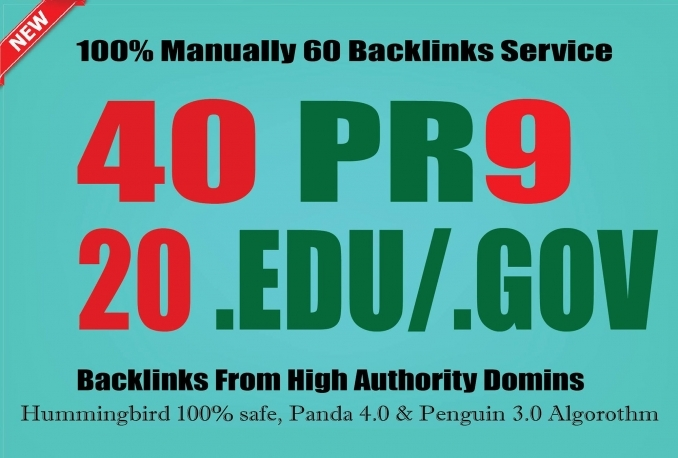 Manually Create 20 Edu, 40 High Pr9 and Gov Backlinks